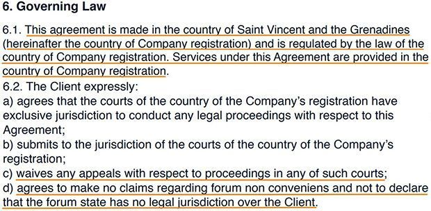 In the paragraph «Proper law» there is a clause about the complaints of the customer