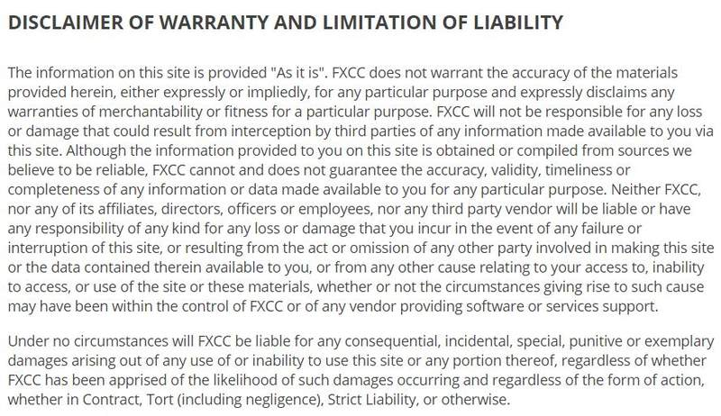 FXCC disclaimer of warranty and limitation of liability