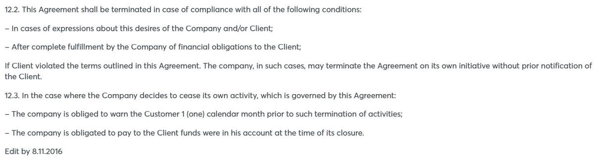 INTRADE.BAR payment of money to clients upon termination of work
